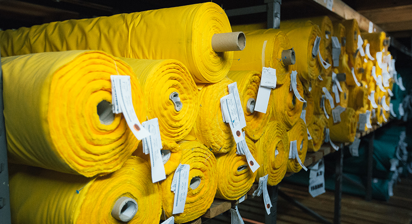 Rolls of fabric used for safety gear