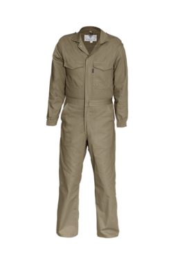 Brown cuffed sleeve boiler suit with epaulette detail