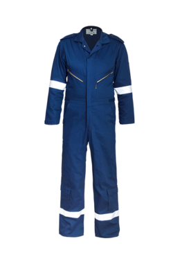 Blue visible zip detail boiler suit with velcro at hems & cuffs