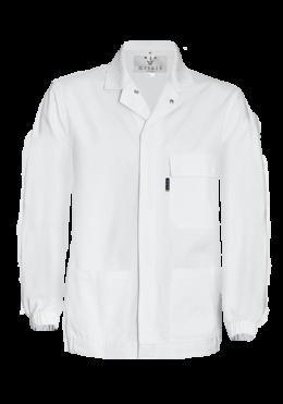 White chore jacket with ¼ back elastic