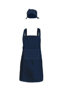 Full length denim bib apron & head gear