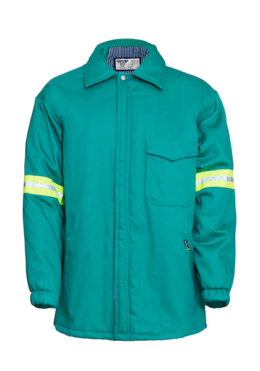 Mint Mens Flame Retardant Padded Zip Through Jacket with High Visibility Detail