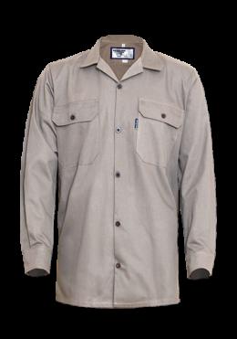 Men's Long Sleeve Cotton Poplin Shirt with Curved Hem