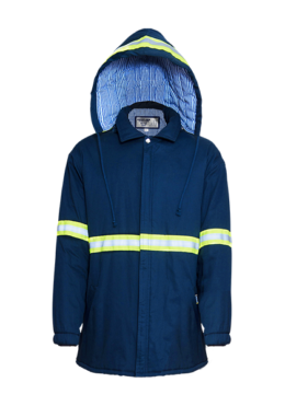 Blue Mens Hooded Padded Zip Through Jacket with High Visibility Detail