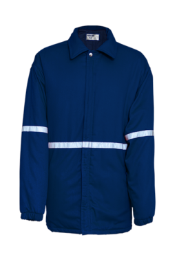 Blue Padded Zip Through Jacket with Plain Contrast Lining