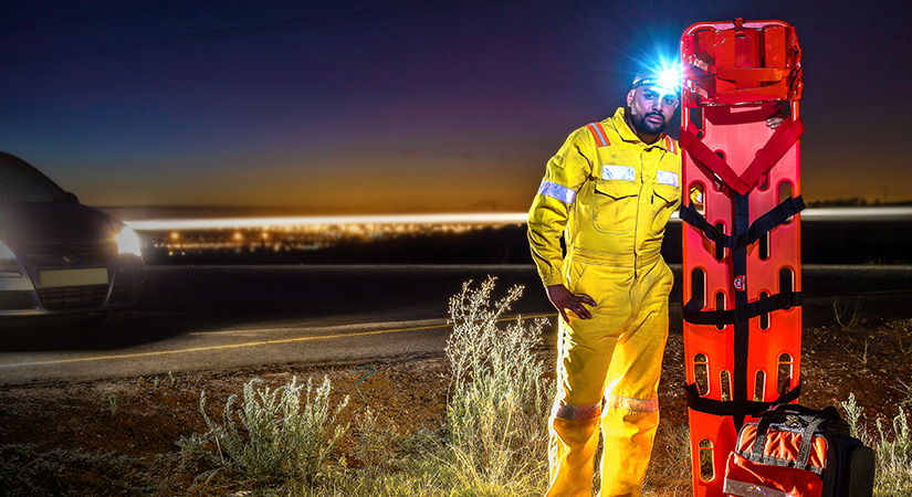 Paramedic in high visibility safety suit