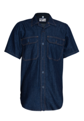 Short Sleeve Denim Shirt with Glad Neck and Curved Hem