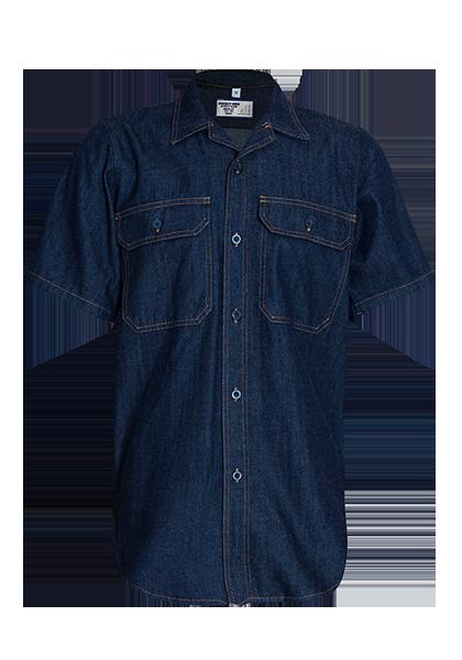 Short Sleeve Denim Shirt with Glad Neck and Curved Hem