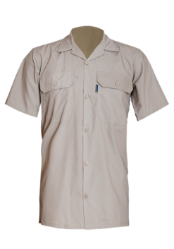 Short Sleeve Cotton Poplin Shirt with Straight Hem