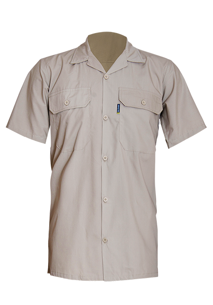Short Sleeve Cotton Poplin Shirt with Straight Hem